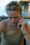 leah on phone
